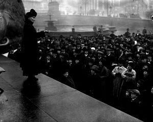 Mrs Pankhurst Adressing a meeting in Trafalgar Square 17th February 1917