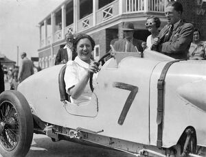 Mrs R H Beeles wife of Mr Eccles Special seen here driving her husbands car in the