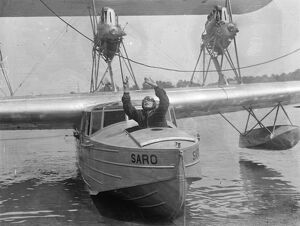 Mrs Victor Bruce forced down an hour after taking off for month in the air attempt