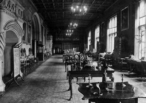 The Music room of Ashton Court, with a large organ situated at one end of the room