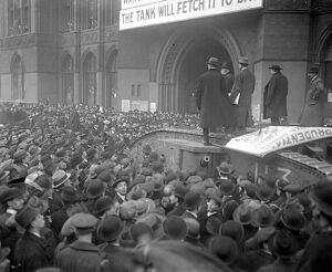 The National war bond tank calls at the Prudential for a £625,000 cheque. 5 December