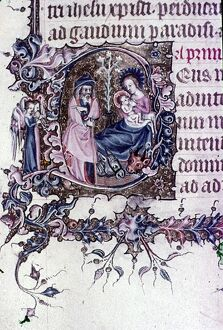 Nativity, Joseph with musical angels. English Illumination in 13th and 14th Cent