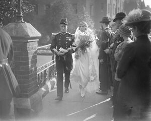 Naval Wedding at Harrow. The marriage of Lt Com A de Salis with Miss H Bindloss