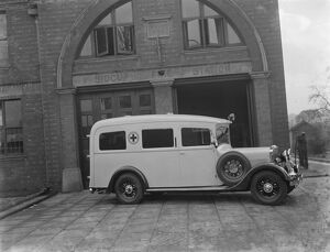A new ambulance, parked outside Sidcup fire station, Kent. 1937
