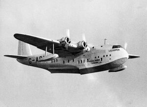 New Imperial Airways flying boat Cassiopeia in flight after taking off from Southampton