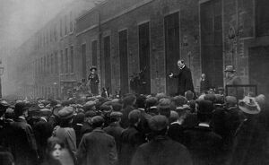 Noisy Tactics at Dundee: Winston Churchill rung down by a suffragette's Bell. A