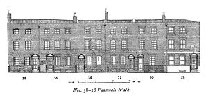 Nos 38-28 Vauxhall Walk South East London Measured drawing by A R Hansen History