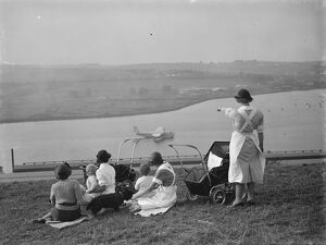 Nursemaids in Rochester, Kent, have a good view of the flying boat tests on the