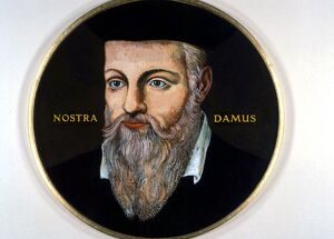 OCCULTISTS - NOSTRADAMUS. Miniature portrait of the great diviner and astrologer
