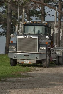 Old MACK 4x4 semi (articulated) tractor unit parked up on Manitoulin Island Ontario