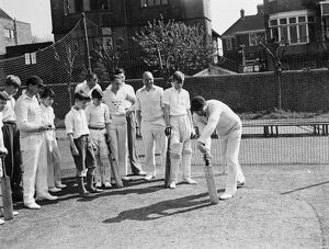 Open-air cricket practice has begun at the Hove ground of the Sussex Cricket club