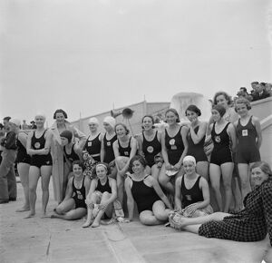 The opening of Swanscombe Baths in Kent. The bathers posing for a group photo
