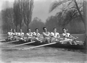 Oxford crew in action. Striking Henley Study. First American to stroke the eight A
