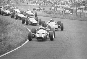 The pack at the first bend of the German Grand Prix started at Nurburgring front to back