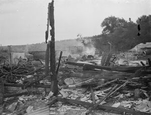 Padham farm fire in Swanley. The charred remains. 1936