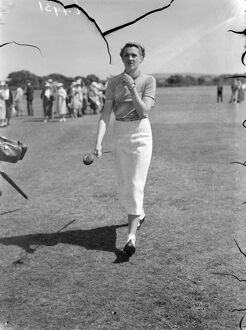 Pam Barton in play in the women's international golf match. Britain met France in