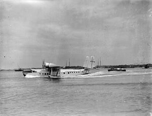 The Pan American flying boat , Clipper III landing at Southampton