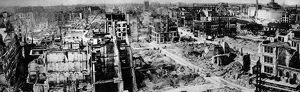 A panoramic view of one of the badly bombed areas of the city of London taken