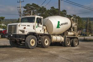 Paystar 5000 cement mixer parked up for the weekend on wast ground on Manitoulin