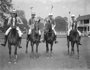 Polo at Ranelagh Traillers versus Scopwick. The Scopwick team - Major D C Boles ( right )