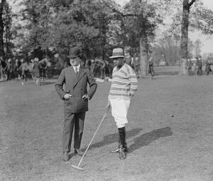 Polo at Worcester Park. Mr Hawle and Thakur Prithi Singh. 1925