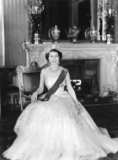 Portrait of Her Majesty Queen Elizabeth II Buckingham Palace 1953