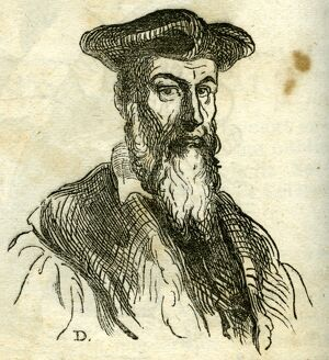 Portrait [presumably originally an ink drawing] of Michel Nostradamus by Honore Daumier