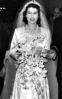 Princess Elizabeth leaving Westminster Abbey London after her wedding 1947
