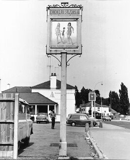 Pub sign for The Merry Maidens at Shinfield, Reading, England 1960s