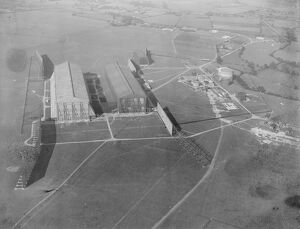 Pulham Aerodrome On the left is seen the shed housing two German zepplins on the