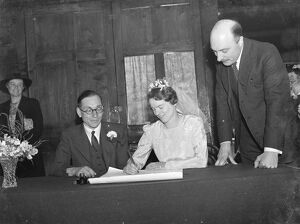 The quaker wedding of Miss Grace M Marshall and Mr Alfred Lucker in Dartford, Kent