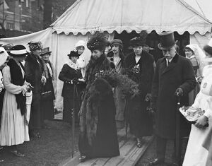 Queen Alexandra at nurses bazaar and fete at Devonshire house 1 May 1919