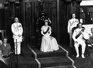Queen Elizabeth II in the Legislative Council of the New South Wales Parliament in Sydney