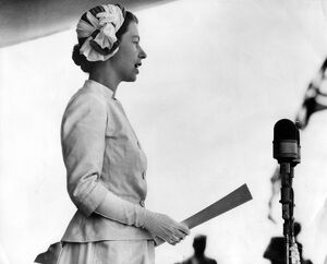 Queen Elizabeth II replying to an address of welcome at Timaru, in the South Island
