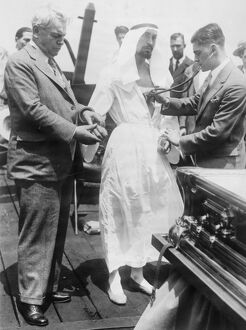 Rahmen Bey, Egyptian Fakir, tested at New York. Rahmen Bey being examined by