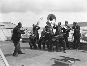 Raymon Newton ( left ) and his band at Scarborough , Yorkshire
