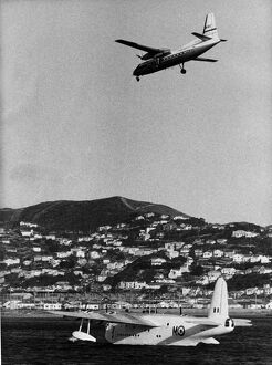 A recent picture taken in Wellington Harbour shows a short Sunderland flying boat