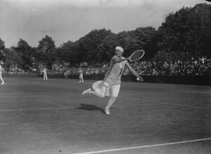 Reception to famous tennis stars at Roehampton club. Miss Bouman ( Holland ) in play