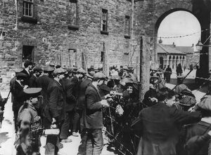 Relatives allowed to visit the prisoners in the Richmond Barracks, Dublin, three