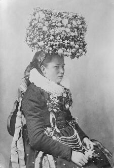 Remarkable head dress worn by a bride in the Black Forest country of Germany 25 May 1920