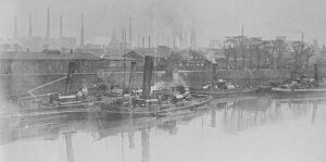 Three Rhineland Towns Occupied by Allies View of Ruhrort, showing steamer lying off Larr