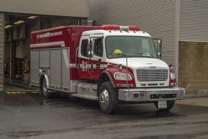 A rigid 4 wheeled Freightliner in service with the sudbury Ontario Canada Fire service