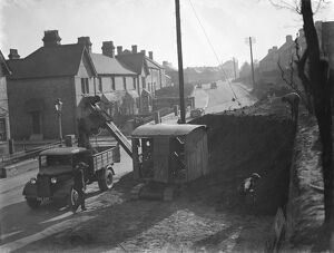 Road works at Swanley - widening the road. 1938