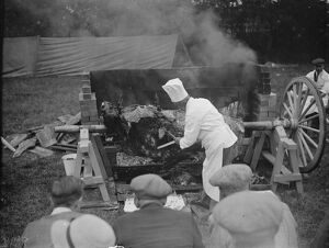 Roasting an ox in Gloucester . 30 June 1938