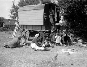 Romany gypsy family camped on Epsom downs during the race meeting on Epsom racecourse