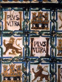 Royal heraldic lion in tiling within the Alcazar in Seville, Spain