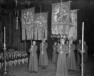 Royal Wedding. The procession of the Brotherhood of St Edward the Confessor showing