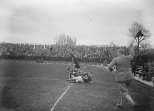 Rugby match between Army and Navy at Twickenham. Capt W H Stevenson scoring the