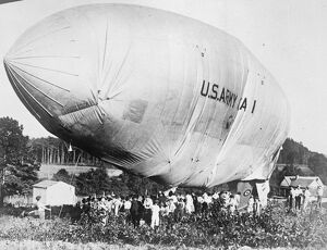 Runaway Army Airship crashes to earth. The US army airship A1 broke away from its
