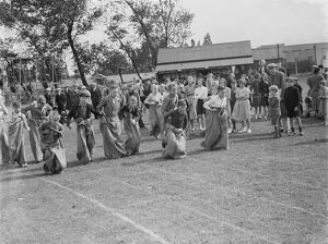 A sack race in Swanley, Kent. <br> 1939